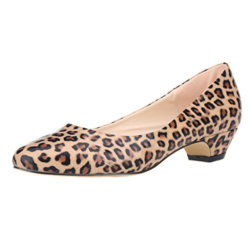 Leopard Patent Leather Heels (ZriEy Women's  Patent Leather Leopard Closed Round Toe Pumps Low Mid Kitten Heels - 7.5 B(M) US )