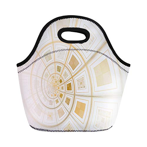 Semtomn Neoprene Lunch Tote Bag Colorful Able Intricate Orange Copper Abstract Spiral on Bold Reusable Cooler Bags Insulated Thermal Picnic Handbag for -