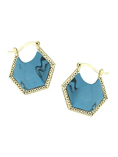 House of Harlow 1960 Jewelry Hexes Earrings - Gold/Turquoise - O/S