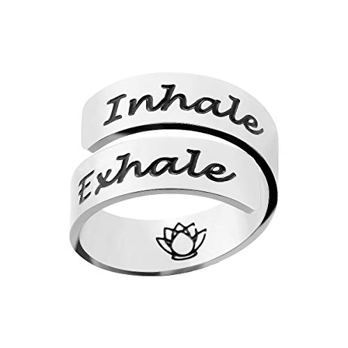 omodofo Inspirational Motivational Ring Adjustable Personalized Stainless Steel Spiral Wrap Twist Ring Encouragement Personalized Jewelry Birthday Gifts for Girls (Inhale & Exhale)