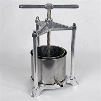 Fruit Press - Italian, 3 Liter, Food-Grade Polished Aluminum with Stainless Steel Press,  For Wine and Cider -