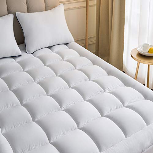 Mattress Topper Twin 39x75 Inches Quilted Plush Down Alternative Pillow Top Fitted Skirt Protector Mattress Pad Reviver Enhancer Deep Pocket Fits 8-21 Inches Soft White Bed Cover