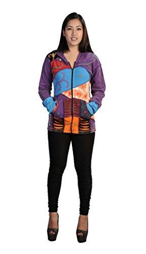 De la Mujer de manga larga multicolor piedra lavada de algodón Cardigan adjuntar Capucha Razor Cut bordado y bolsillos . Morado