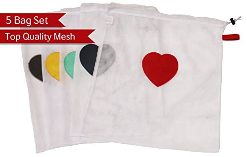 Set of 5 Extra Large Mesh Laundry Bags for Washing Machine and Dryer - Save Time Sorting Socks - Make Sock Laundry Simple - Heart Patch in