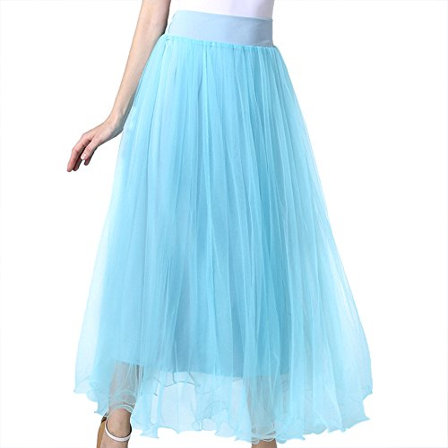 MML Women's Elastic Waist Gauze Tulle Ball Gown Big Swing OL Long Maxi Skirts (Blue) (Light Blue Pencil Skirt compare prices)