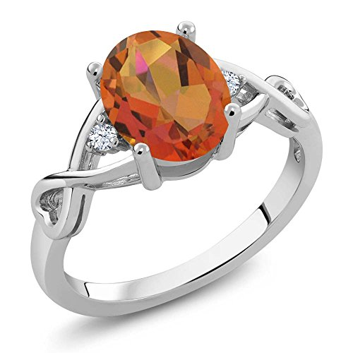 1.85 Ct Oval Twilight Orange Mystic Quartz White Topaz 925 Sterling Silver Women's Ring (Ring Size - Silver Orange