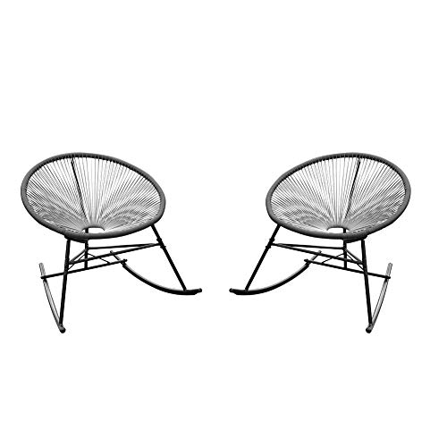 PatioPost Outdoor Acapulco Sun Weave Lounge Patio Rocking Chair,Grey(Set of 2)