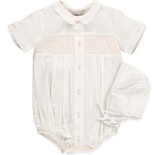 Carriage Boutique Baptism Outfit for Boys and Special Occasion - Smocked Creeper with Bonnet - 9M Ivory