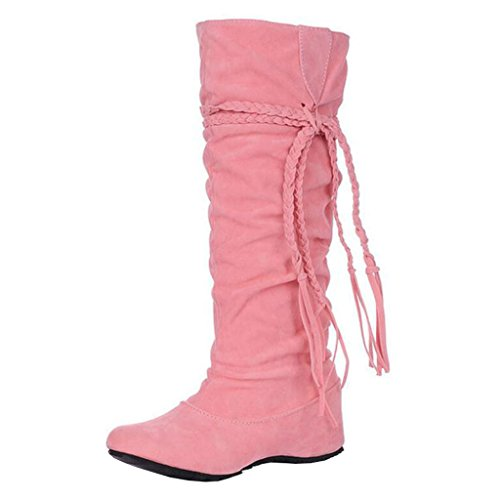 Round Slip Flat on Pink Women's Boots Binying Tassel Toe Inner Increaser YqtUwPf