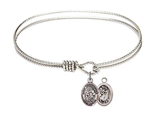 7 1/4 inch Oval Eye Hook Bangle Bracelet w/St. Christopher/Wrestling in Sterling Silver by Bonyak Jewelry