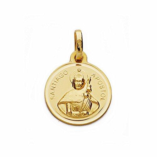 Médaille pendentif or 18k lunette 14mm lisse Santiago Apôtre. [AA1939GR] - personnalisable - ENREGISTREMENT inclus dans le prix