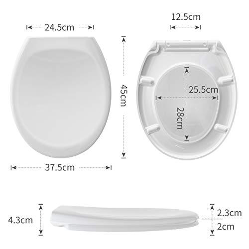 Tapa de WC,Morpilot Asientos para Inodoro en Forma de O, Asiento de Inodoro con cierre suave y lenta, Desmontaje rápido, Fácil de Limpiar, Blanco