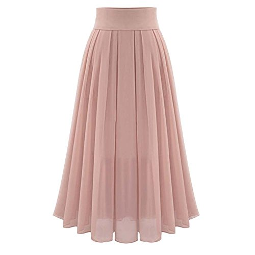 MorySong Chiffon High Waisted Pleated Maxi Women Beach Skirt Vintage Dress L Pale Pink from MorySong