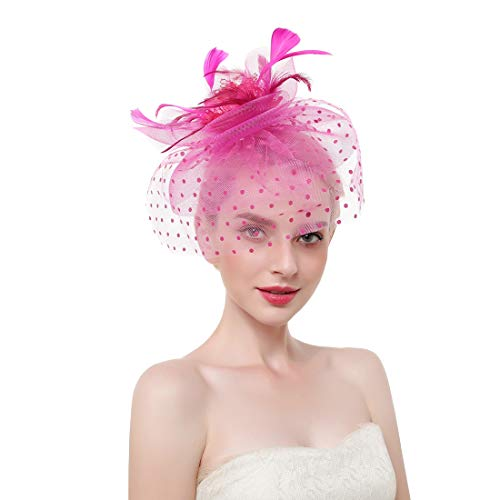 Vintage Fascinators Hat Women Racing Cocktail Headband Flower Kentucky Derby Headwear Mesh Tea Party Hair Clip Rose Red