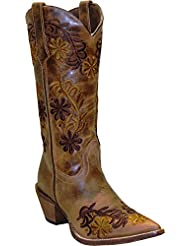 Abilene Womens Rawhide by Boot Floral Cowgirl Pointed Toe - 5024