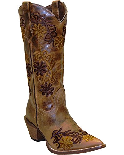 Abilene Womens Rawhide By Boot Cowgirl Floreale A Punta - 5024 Marrone