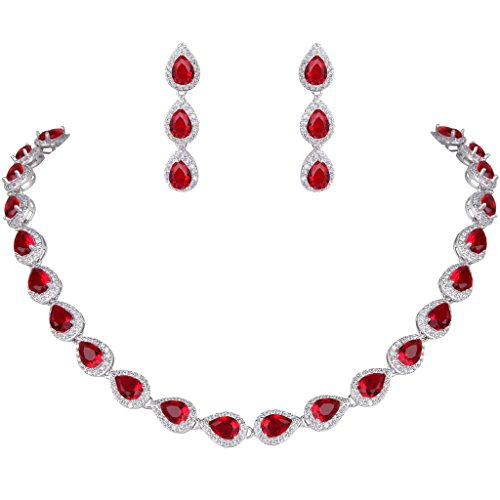 EVER FAITH Women's Full CZ Elegant Teardrop Necklace Earrings Set Red Ruby Color Silver-Tone