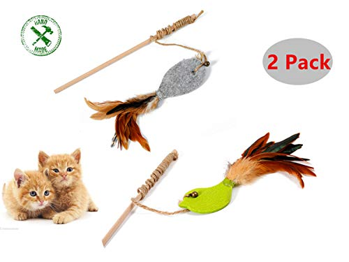 DogLemi Premium Handmade Cat Teaser,Interactive Cat Toys Set,Wooden Stick with Wool Felt of Fish&Bird,2 Packs Cat Toy Set,Sword Rope,Natural Feather and Bell,Cat Toys of Natural Feather Wand ()