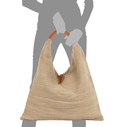 Auténtica De Pelle Lino Taupe Cm Natural Hombro Vera Shopper Italiana In Shopper Piel asa Piel Color Artegiani Made Italy Mujer Mujer Rosa bolso Firenze En 55x46x14 Mano bolso Bolso B4vf0W8