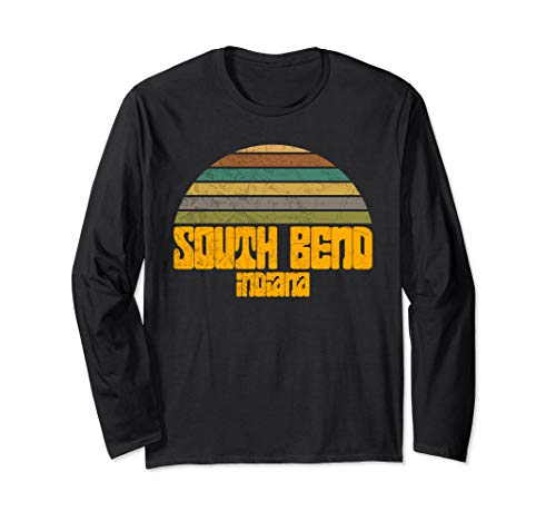 VINTAGE 70s 80s STYLE SOUTH BEND IN Distressed Graphic  Long Sleeve T-Shirt