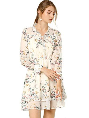 Allegra K Mini Vestido Floral De Gasa Vintage Cuello De Pico Con Volantes En Capas Para Mujeres