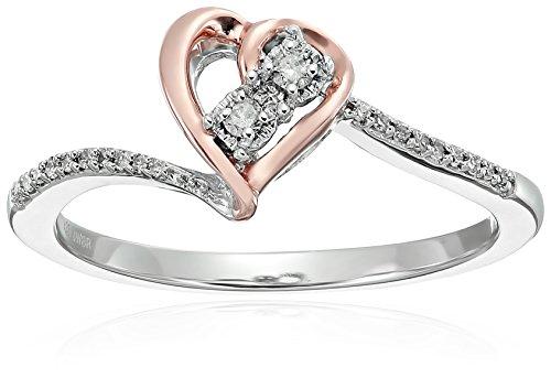 14k Rose Gold Over Sterling Silver Diamond Heart Promise Rin