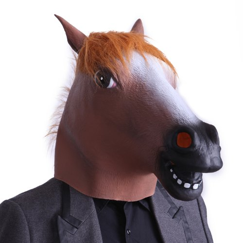 HDE Novelty Prop Horse Head Halloween Dress Up Costume Party Latex Mask (Bomb Costume)