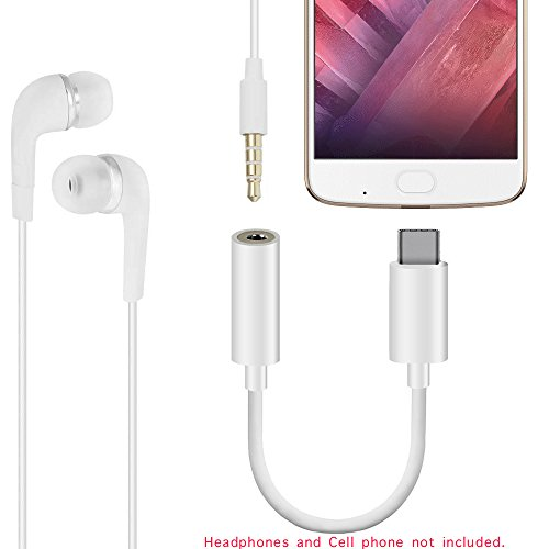 Only Support for Motorola Moto Z3 Play, Moto Z2 Play, Moto Z2 Force Edition, Moto Z Force Droid, Type-C to 3.5mm Headphone Jack Adapter USB C Headphone Connector Audio Cable Extension (White-2Pcs)