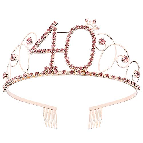 ZYXY Pink Crystal Tiara Birthday Crown Princess Crowns Hair Accessories Rhinestone Birthday Gift for Girls and Women, Happy 18/21/40/50/60th Birthday(40 Birth)