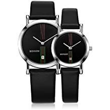 BINLUN Pair Couple Watches Set His and Hers Gifts Minimalist Waterproof Quartz Leather Watches with Date for Anniversary