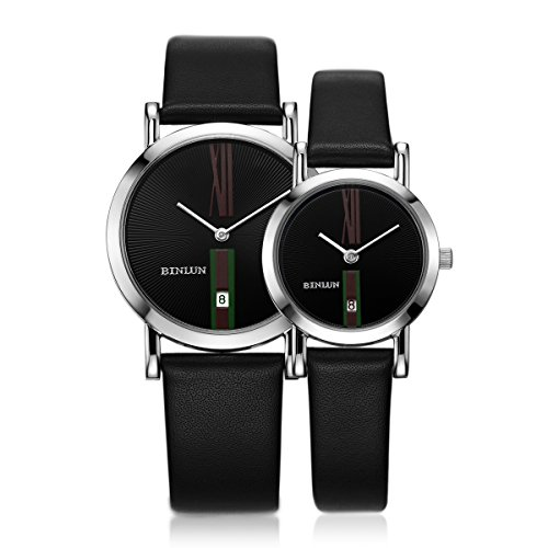BINLUN PairCouple Watches Set His and Hers Gifts Minimalist Waterproof Quartz Leather Watches with Date by BINLUN