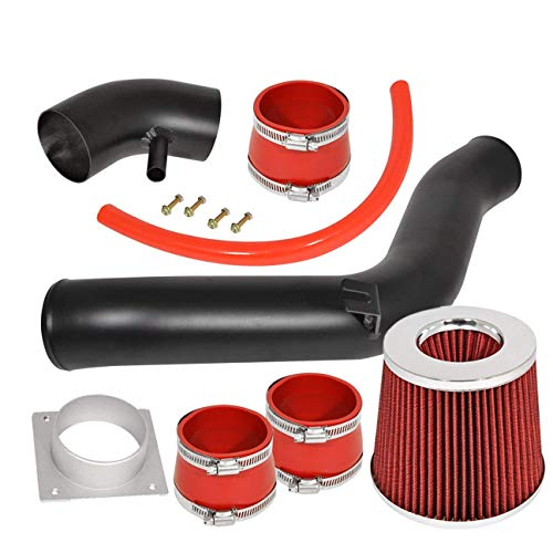 For 2002-2006 Nissan Altima (2.5L 4 Cylinder Model Only) Aluminum High Flow Cold Air Intake System Black Pipe with Air Filter Red