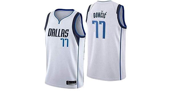 2 Estilo YSMART Camiseta De Manga Corta,Dallas Mavericks Doncic # 77/ cl/ásico Vintage c/ómodo//Uniforme de luz//Transpirable de Tela Unisex Ventilador