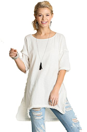 - Best Seller! Textured Knit Tunic with Fringe Accents (Large, Off White)