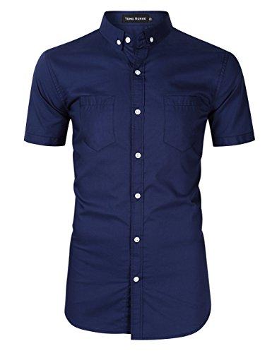 Yong Horse Men's Summer Cotton Fitted 2 Pockets Short Sleeve Button Down Dress Shirts (Navy Short Sleeve, XL)
