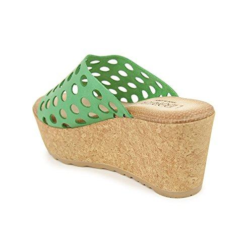 Zueco Cuña En Piel Verde Verde