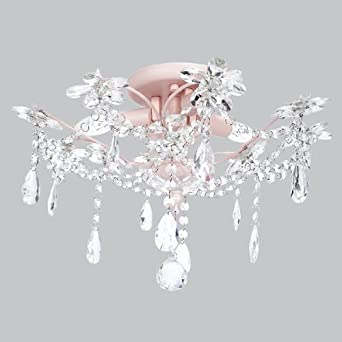 Beautiful 3 Light Crystal Flower Ceiling Chandelier In Pink