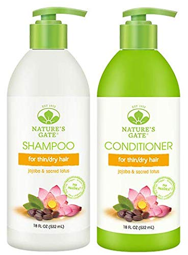 Nature's Gate All Natural Organic Revitalizing Jojoba Shampoo and Conditioner Bundle With Anti-Dandruff Flaky Scalp Treatment, Jojoba, Witch Hazel, Borage, Rosemary, Mint and Nettle, 18 fl. oz. each