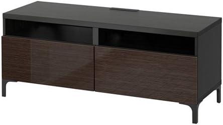Ikea Meuble Tv Avec Bonde Tiroirs Black Brown Selsviken Brillant