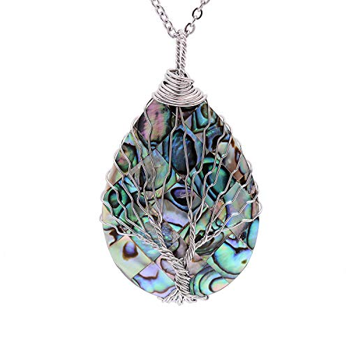 (Wire Wrapped Abalone Teardrop Necklace - Handmade Silver Abalone Shell Water Drop Tree of Life Pendent Jewelry for Women)
