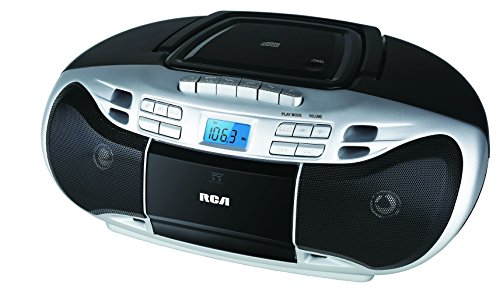 RCA Portable Stereo CD Boombox with Cassette Tape Player - Digital AM/FM Radio, (RCD378D)