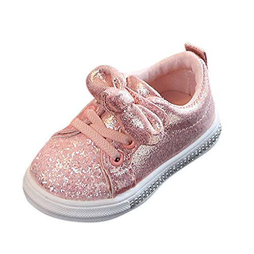 ModaParis Baby Boys Girls Shoes, Kids Bling Sequins Bowknot Crystal Run Sport Sneakers, 0-8 Years Old Pink (Summer Infant Bed Rail Pink)