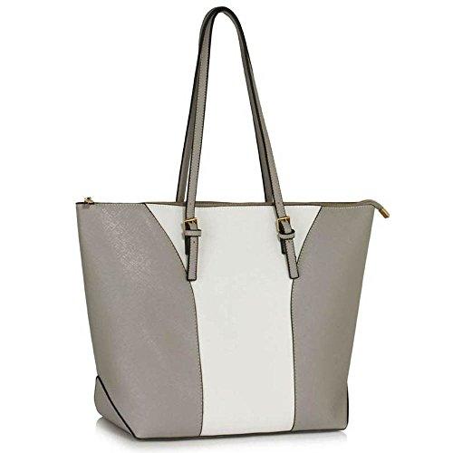 TrendStar Mujeres Bolsas De Créateurs hombro de patente bolsos de damas de moda Fourre Tout E - Grey/White