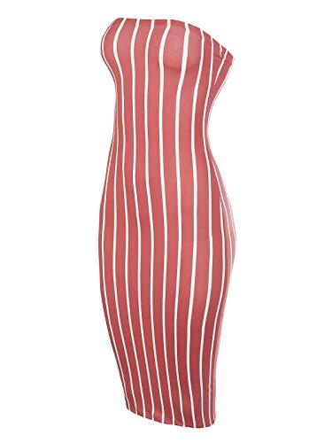 BEYONDFAB Women's Super Sexy Comfortable Tube Top Body-Con Midi Dress Mauve S