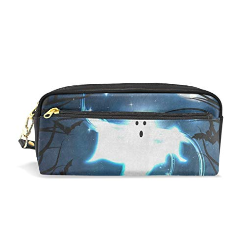 Pencil Case/Makeup Bags Halloween Night Ghost Bat Forest Moon Big Capacity Portable Pencil Bag for College Students/Women/Adults