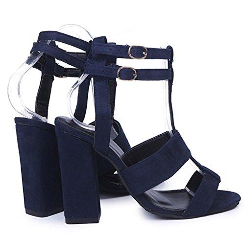 Transer Damen Sandalen, Knöchel High Heels Block Party Offene Spitze Schnallen Schuhe Blau