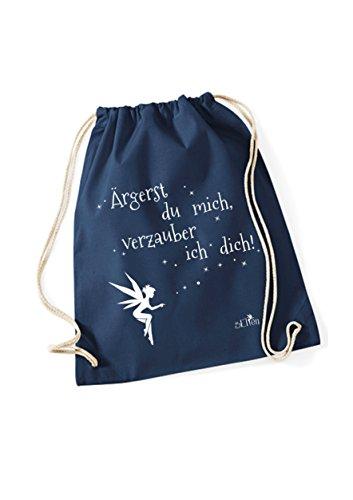 Turnbeutel Ärgerst du mich, verzauber ich dich bedruckt / Rucksack mit Sprüchen / Freizeitbeutel / Gymsack mit Spruch von 3 Elfen - Statement Spruch Beutel - schwarz blau