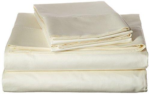 Tribeca Living Egyptian Cotton Sateen 800 Thread Count Hemstitched Deep Pocket Sheet Set, Queen, Ivory
