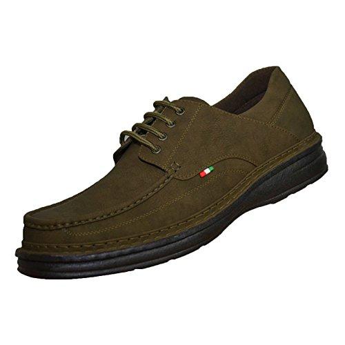 Kaki Kaki Kaki grande KEANU scarpe scarpe scarpe scarpe similpelle Duca misura lacci Scarpe con di king D555 uomo marca twOE7nqBw