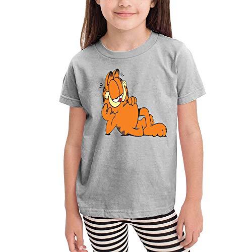 Girl T-Shirt Cotton Tee Tank Tops for Kids Garfield- 5T/6T Gray ()
